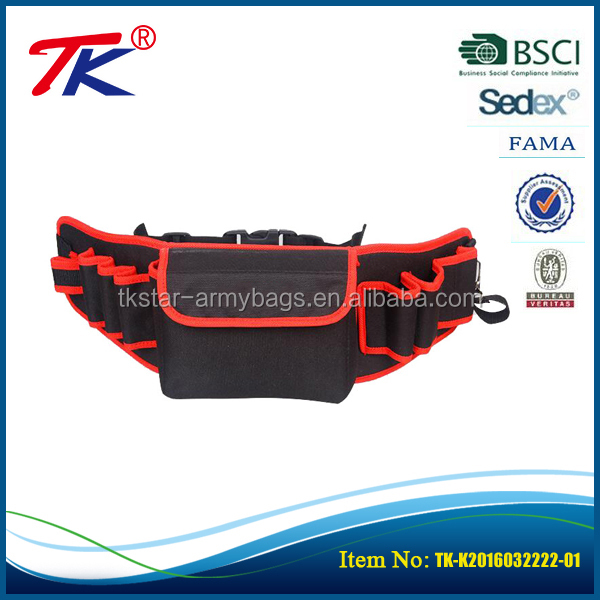Promotional durable heavy duty multifunction waist bag easy carry 600D poly tool pouch belt