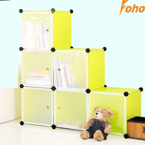 6 cubes PVC plastic green color 4mm thickness wire Bookcase(FH-AL0024-6)