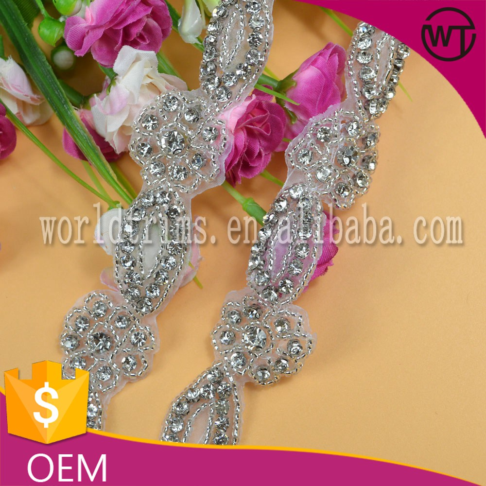 High quality crystal rhinestone beaded belt bridal sash trimming