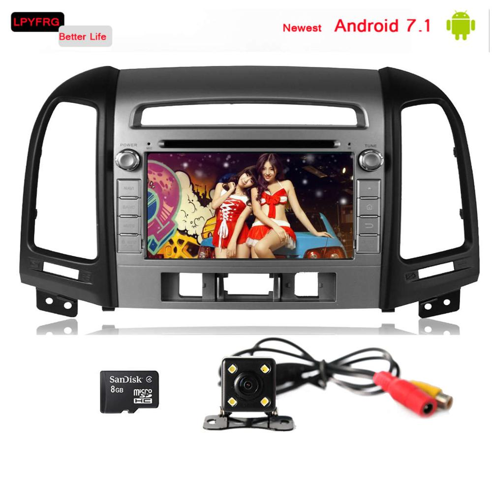 android 7.1 car multimedia player for turbo hyundai santa fe automatic 2010 2007 with gps navi support OBD2 TPMS DVR DAB+