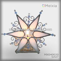 MX040020 tiffany style tea light stained glass candle holder snow flake holiday gift christmas ornament