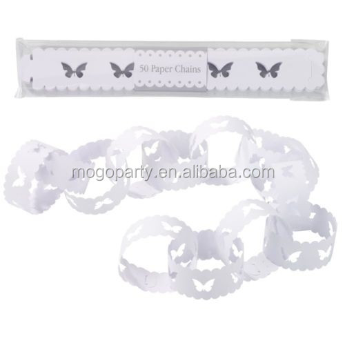 White Butterfly Paper Chain. Wedding Christening or Shabby Chic Party Decoration