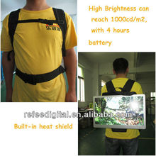 New 19in rechargeable battery high brightness moving backpack lcd advertising display