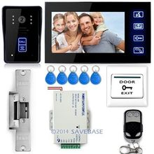 "7"" Video Door Phone Doorbell Intercom IR Camera Monitor Electric Strike Lock RFID Key"