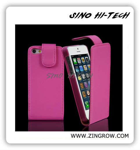 Hottest Mobile Phone Leather Case for Iphone5, Holder Leather Case with Mirror Super Fit for Ladies Accept PayPal