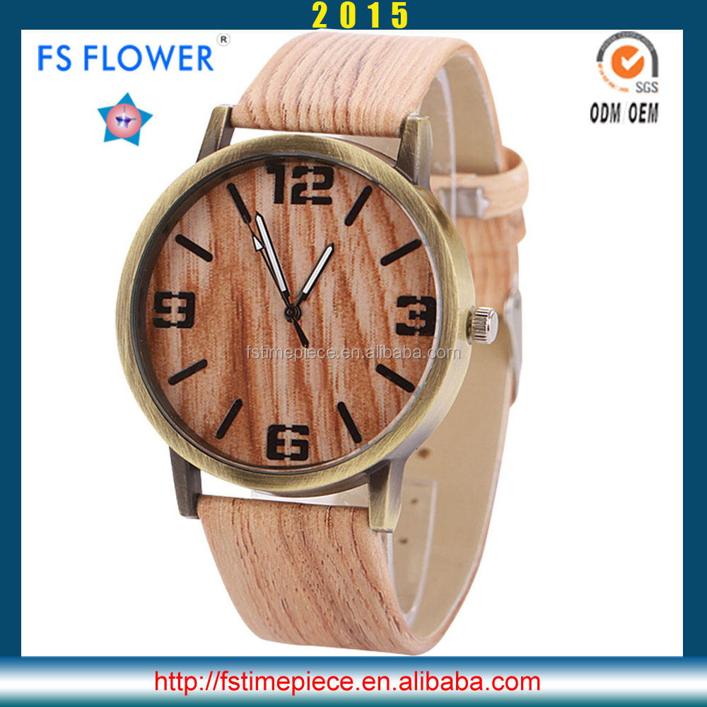 FS FLOWER - New Men Fashion Wood Texture Watch 2016 Leather Strap