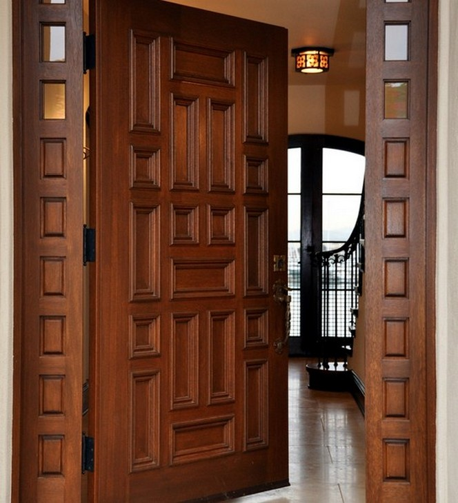 New popular teak wood wooden main door designs view wood for Latest main door