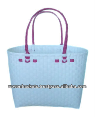 Cheap Woven Baskets Shopping weaving Bag(ATM-F4) with White or Colorful made from Plastic Straps Polypropylene pp