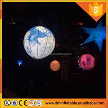 giant Ceiling decoration inflatable yellow ball with red cones LED Lights for Night Club, Party