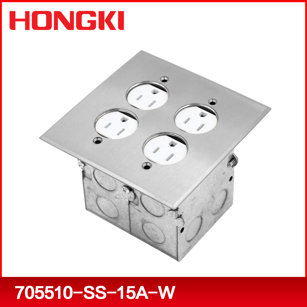 UL listed floor mounted two gang electric outlet box rectangular nickel plated brass recessed floor cover with TR receptacle