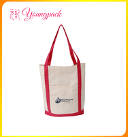 high quality promotional canvas tote bag with outside pockets