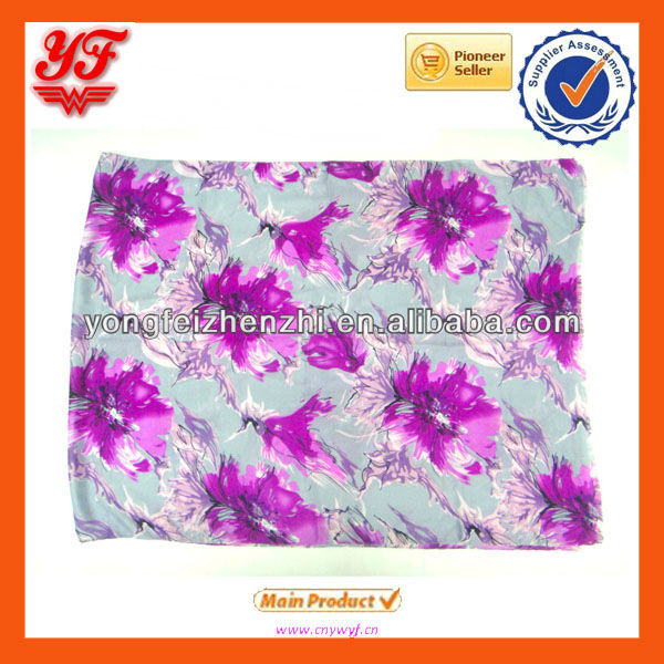 Flax elegant flower pattern print fashion soft comfort scarf