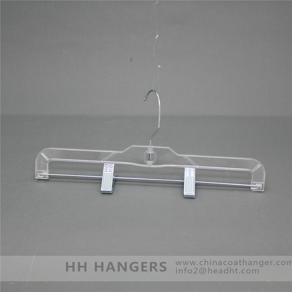 Recyclable transparent skirt/pant plastic adjustable Clips hanger