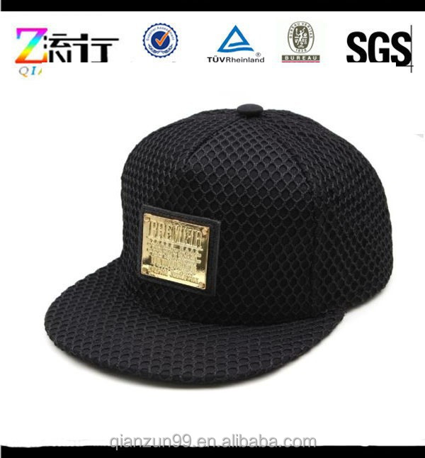 Whole Alibaba Leather Patch 5 Panel Snapback caps Black With Metal Label Made In China