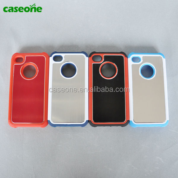 Aluminum back Hybrid TPU+PC mobile phone case Cheap phone case for iphone4s