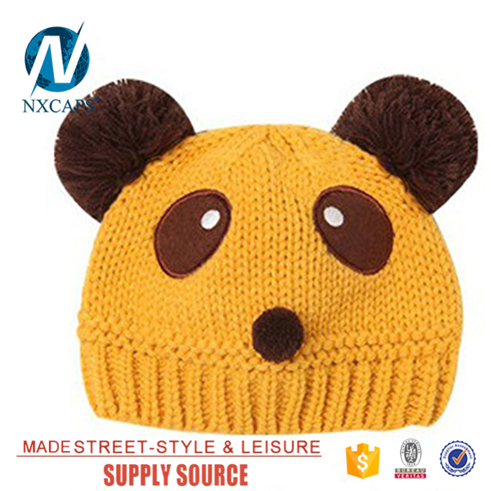 Wholesale baby winter hats boys double pom pom beanie hat with two balls lovely winter straight needle knit hat cartoons beanie