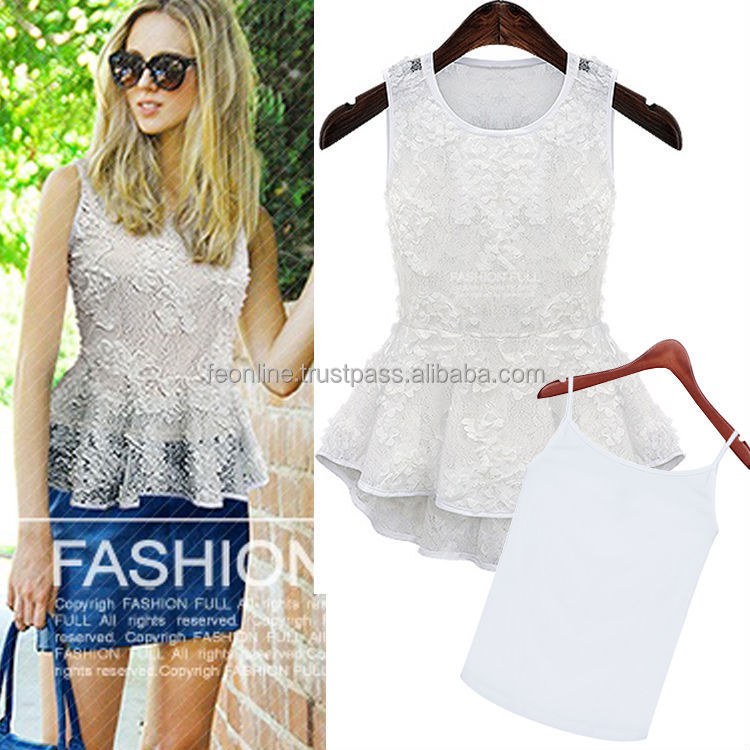 2014 European Women New Design High Fashion Lace Peplum Sleeveless Two Piece Blouse