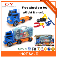 Free wheel container trailer toy with light & music