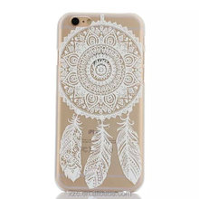 carved PC flower design crystal clear case for huawei p8 lite