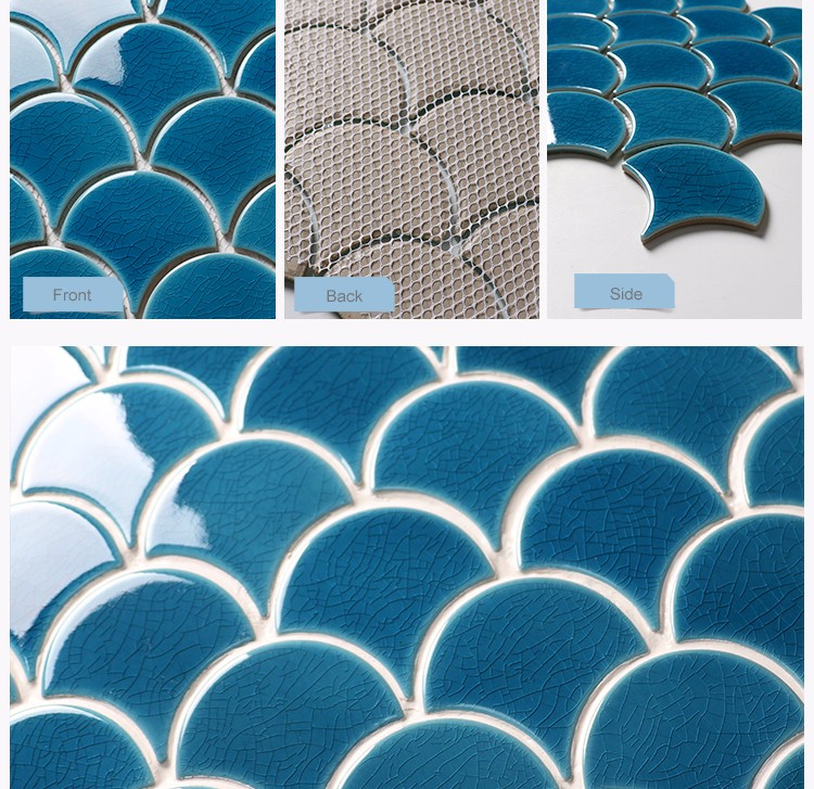 House interior wall decoration ice crackle pattern ceramic fish scale fan shaped mosaic tile blue