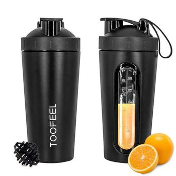 Protein Shaker with Visible Window Stainless Steel Shaker Bottle for Gym