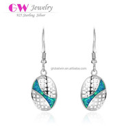 Oval Silver Hanging Beads With Opal Stones Wholesale Sterling Silver Earrings