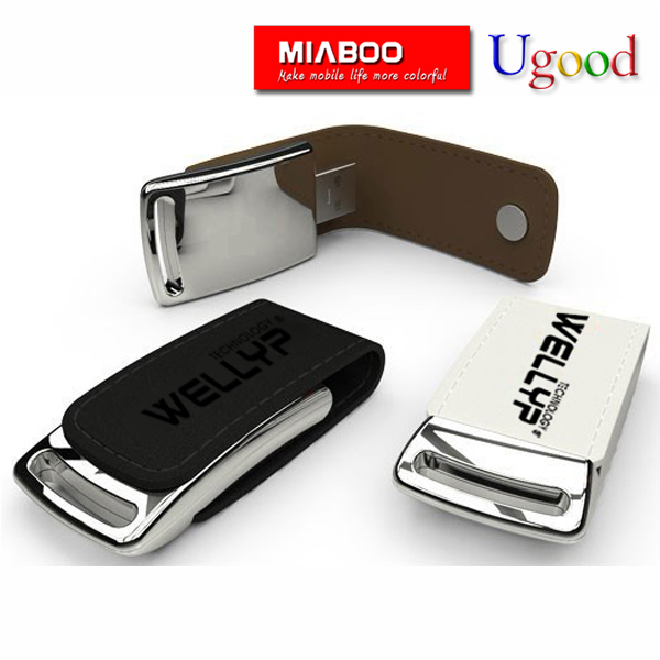 Hot sale new design luxury usb flash drive, Embossed logo leather usb 1GB to 64GB warranty 3 years