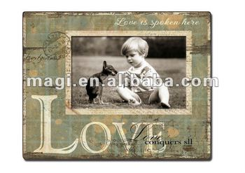 Vintage Love personalized wood photo frames