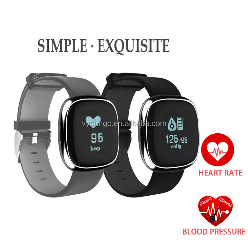 2017 New Arrival 0.95inch touch screen P2 blood pressure Pedometer Wrist Watch smart bands with heart rate