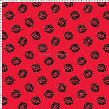 4 way stretch polyester lycra lip print fabric