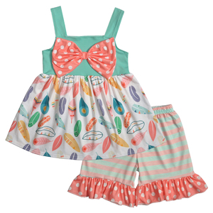 2019 wholesale boutique clothing girls feather print baby clothing set wholesale price baby outfit