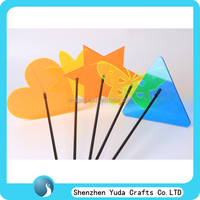 wholesale various shape laser cut acrylic garden picks, neon colored acrylic garden sticks with magic light