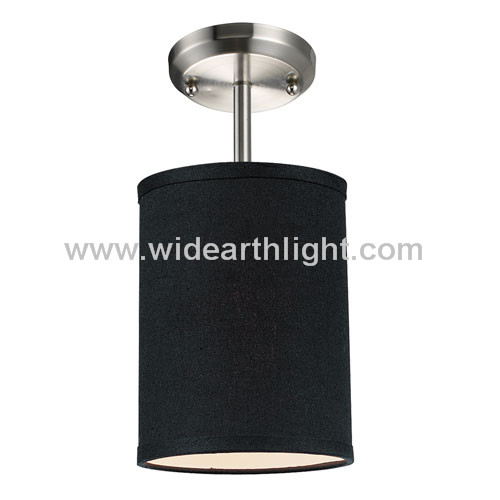 UL&CUL Listed Brushed Nickel Ceiling Lamp For Hotel With Black Fabric ShadeC80262