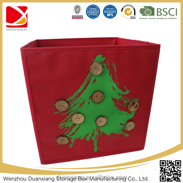 Red christmas Custom Wholesale Large Decorative Cardboard non woven Storage Boxes