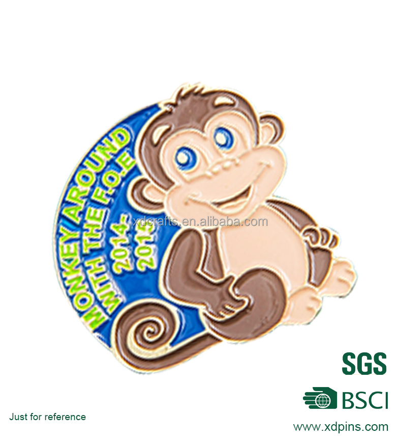 China enamel lapel pin manufacturers monkey for souvenir