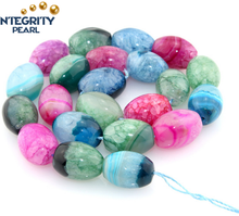 Wholesale natural gemstone loose beads, short rice shape agate beads, dyed colorful agate stone rough