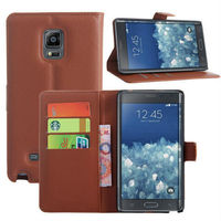 Brown Cell Phone/Smart Phone Wallet Leather Pouch for Samsung Galaxy Note Edge