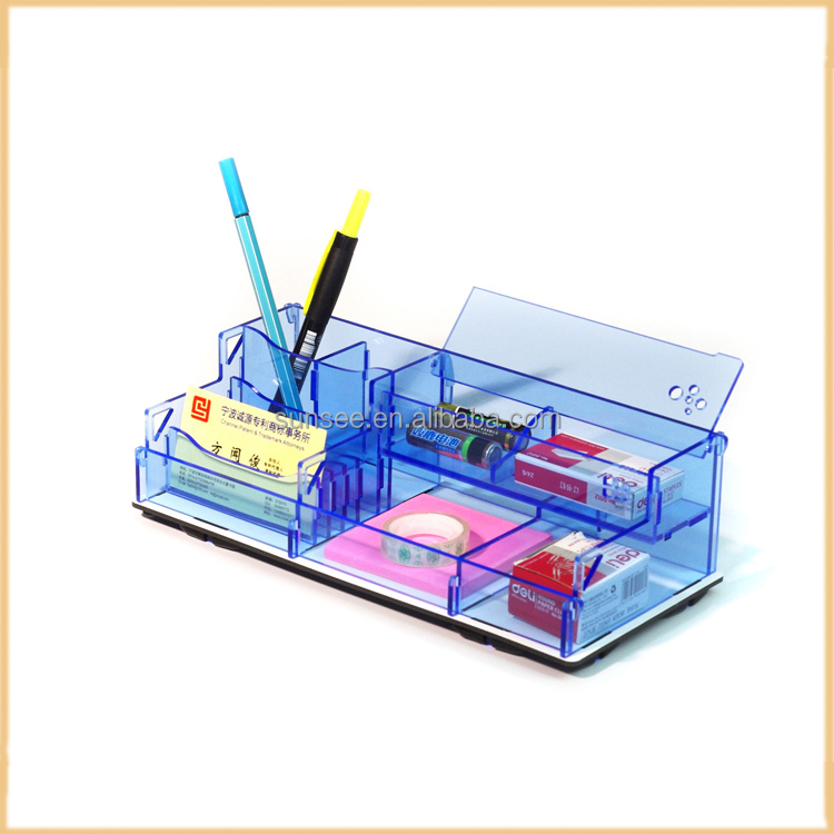 flat packing acrylic pencil box /acrylic stationary organizer