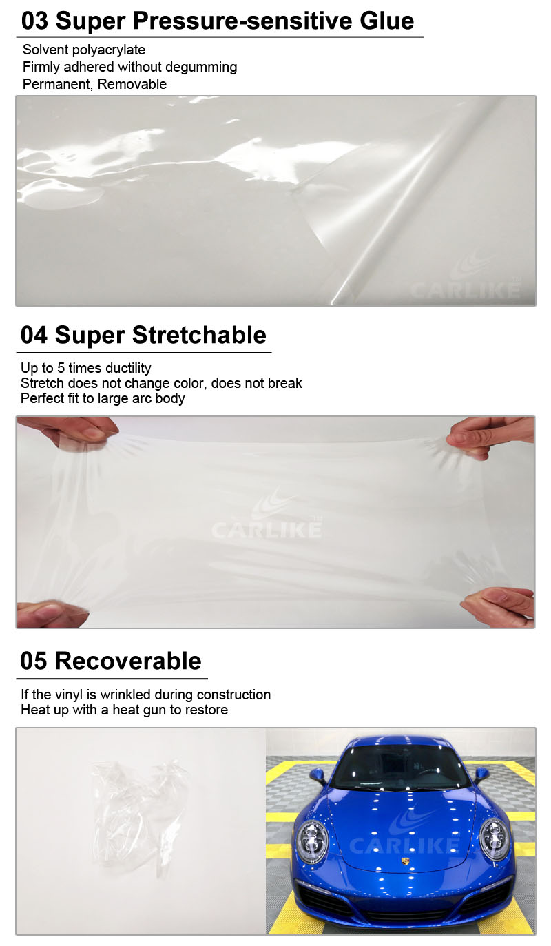 CARLIKE Clear Top Quality PVC Material Car Paint Protective Plastic Film