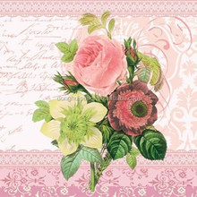 20 Paper Napkins MONICA Decoration DECOUPAGE SHABBY CHIC - Roses - 33 x 33cm