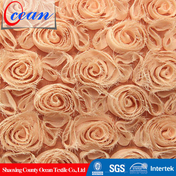 Ocean textile 2014 new products 100% polyester fabric embroidered for wedding