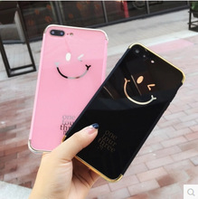 Hot sale lovely smile face electroplated mirror hard acrylic cover mobile phone case For iPhone 6s 7 8 Plus X