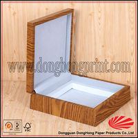 Logo printed gift packaging lightweight wood box with EVA tray