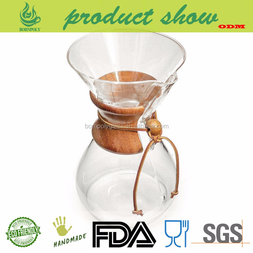 Custom Manual Stainless Dripper Glass Coffee Maker pot with steel mesh filter