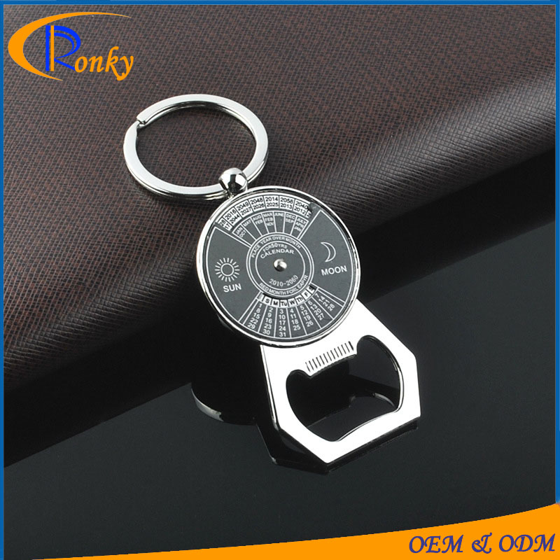 Cheap items promotion gift beer bottle opener keychain 50-year calendar key chain ring