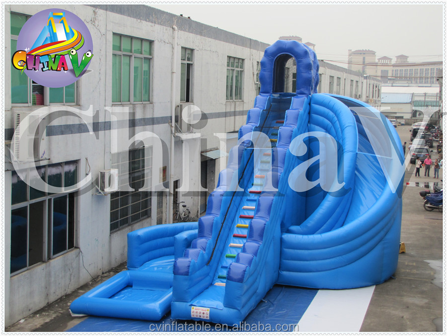 Inflatable blue curve water slide, Curve Action Dual Lane Inflatable Water Slide