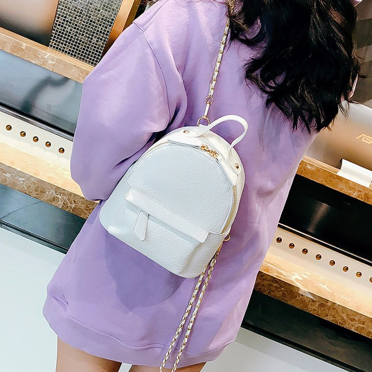 New School White Plain Color Backpack Chain Woman Backpacks