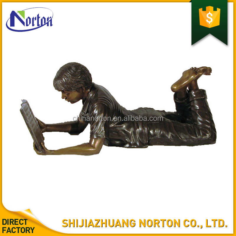 hot quality cast bronze boy reading book statue NT--BS190J