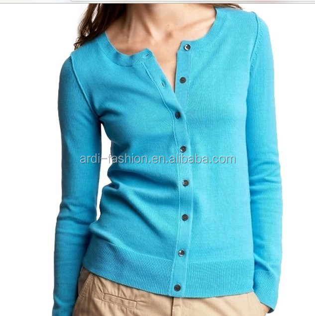 wholesale crewneck button up plain blank knitted formal cardigan
