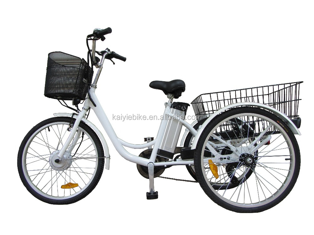 24' three wheels electric bike for cargos / adults electric tricycle / three wheel electric motor bike